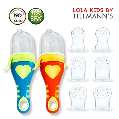 Lola Kids Fruchtsauger für Babys , 2 Fruchtsauger mit 6 Aufsatzkappen aus Silikon, Blau + Orange - 4