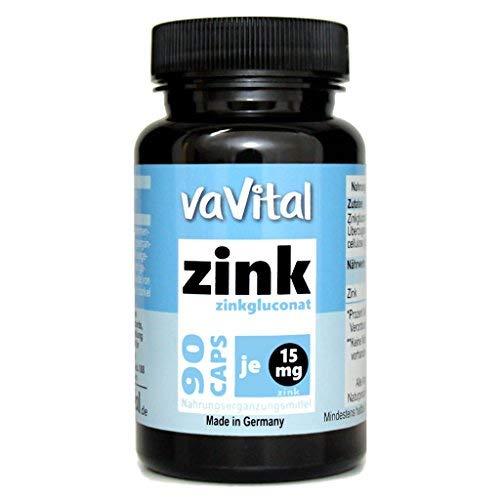 Zinkgluconat, 15 mg ZINK je Kapsel | 90 Kapseln | 100{bf9279f89c17589856bbc461554f9404cfb870d53c6e294e9a915a5280603f1f} Vegan | 3 Monatsvorrat | hergestellt in Deutschland | Premium Produkt - vaVital