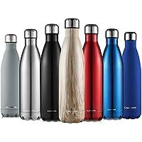 Botella De Agua-CMXING 500ML/750ML de doble pared con aislamiento de botella de agua de acero inoxidable (500ML, Madera)
