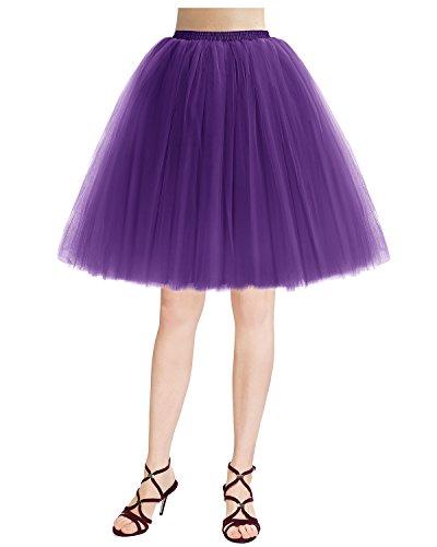 50S Retro Tüllrock Vintage Tutu Petticoat Partykleid Purple L (Billige Tutus Für Frauen)