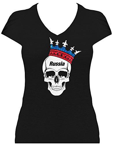 BlingelingShirts Elegantes Damen WM Shirt Fussball Russland Totenkopf mit Krone und Schriftzug Russia Skull T-Shirt 2018, T-Shirt, Grösse S, Schwarz