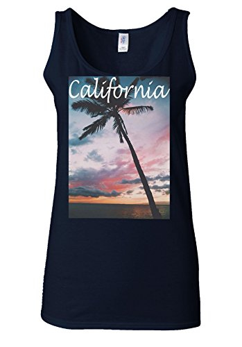 California USA Tumblr America White Women Vest Tank Top Bleu Foncé