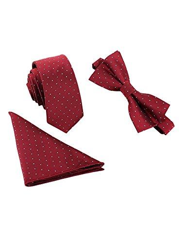 WANYING Herren Klassische 6*12cm Fliege & 6cm Schmale Krawatte & 22*22 cm Einstecktuch 3 in 1 Sets - Gepunktet Dunkelrot