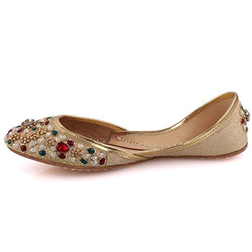 Unze Neue Frauen Traditional 'Opal' Handgefertigte Leder Flat Khussa Pumpe Hausschuhe Schuhe UK Größe 3-8 - Un-08 Gold