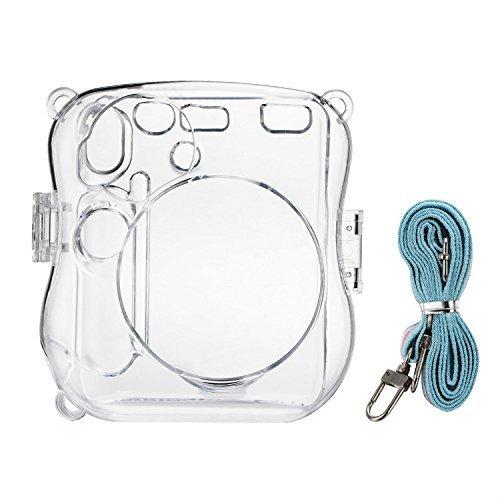 Hello Helio plástico Carcasa Transparente Cristal Cámara instantánea funda para Fujifilm Instax Mini 25con correa (Cristal)
