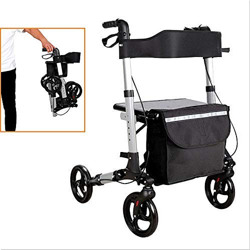 VINGO rollator faltbar und leicht, Höhe verstellbar, Stockhalter Gehwagen Laufhilfe Gehhilfe, Leichtgewicht Rollator Aluminium