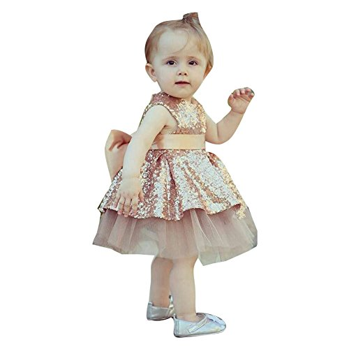 1-4 Years Baby Girl Bow Mesh Sequined Princess Vest Dress