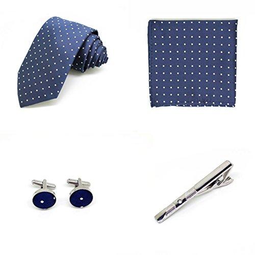 S.R HOME Coffret Cadeau Ensemble Cravate homme, Mouchoir de poche, épingle et boutons de manchette Bleu Foncé a Points
