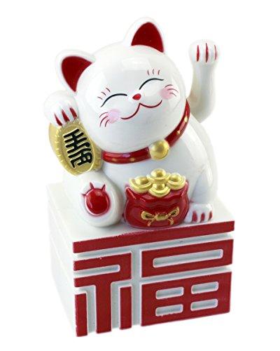 1Stk. Glückskatze Lucky Cat ~ Winkekatze Maneki Neko ~ weiß- 10 cm auf Sockel