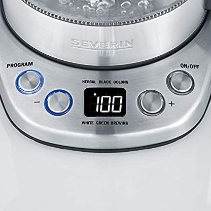SEVERIN-WK-3473-Glas-Tee-Wasserkocher-Deluxe-Mini-ca-2200-W-mit-Temperaturregler-Fr-1-L-Wasser075-L-Tee-edelstahlschwarz