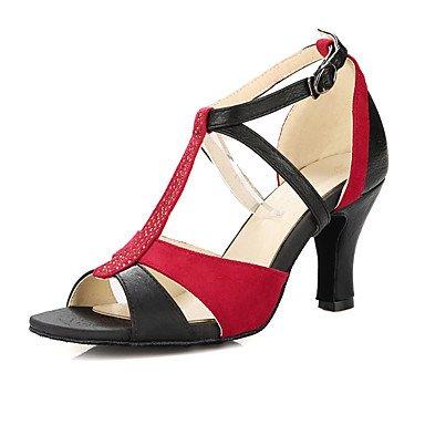 Sandálias De Latina Senhoras Personalizáveis De Couro Prática Preto Sintéticos Calcanhar Xiamuo dançando Sapatos x1YvwqIq