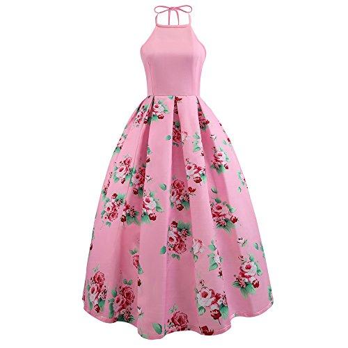 VEMOW Heißer Elegante Damen Ballkleid Cocktailkleid Mit Blumenmuster Langes Kleid Sleeveless Abendkleid Strand Maxi Kleid(Rosa, EU-34/CN-M)