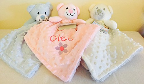 Personalised Embroidered Baby Girl Boy Dimple Luxury 3D Teddy Bear Comforter Blanket Blankie Gift Keepsake (Pink 3D Teddy Bear)