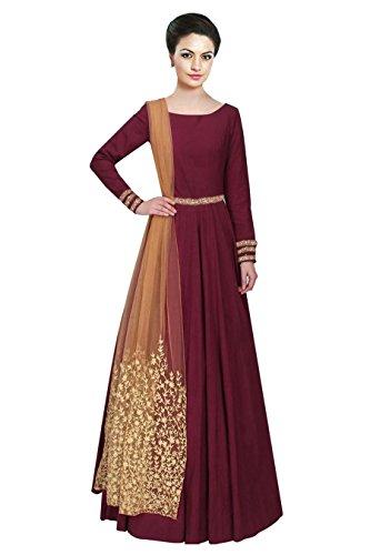 Linux Fashion Studio Maroon Tafetta Silk Embroidery Anarkali Dress