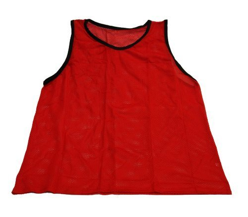 Workoutz Youth Red Soccer Pinnies (Set of 12) Cheap Scrimmage Vests Mesh Team Practice Jerseys -