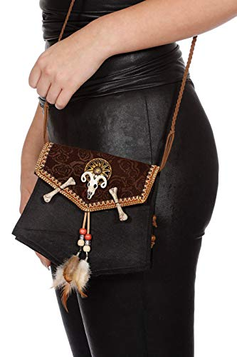 Tasche Voodoo Deluxe mit Knochen Braun Schwarz Handtasche für Damen Karneval Fasching