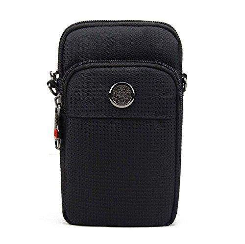 KISS GOLD (TM wasserabweisende Hüfttasche Waist Bag Handytasche mit Karabiner & zwei Reißverschluss Taschen für Sport schwarz