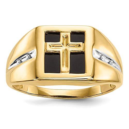 Herren-Ring 14 Karat (585) Gelbgold Onyx Diamant Kreuz Größe 10
