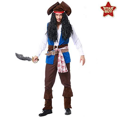 Captain Männliche Kostüm - COSOER Piraten Jack Captain Cosplay Kostüm Halloween Herren Spielanzug,Blue-XL