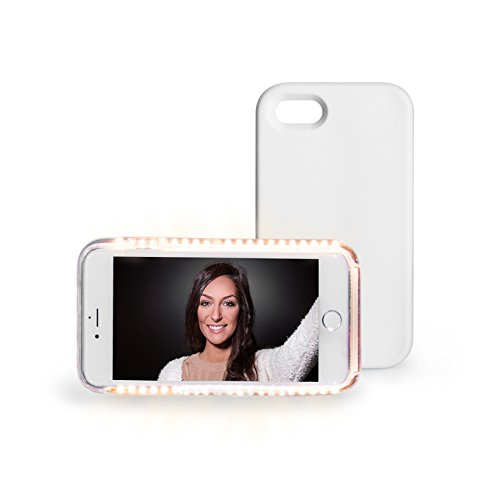 CASE MOBILE IPHONE MIT LICHT FÜR SELFIES IPHONE 5, 5S, SE, 6, 6S, 7, 7 PLUS | Leuchtendes Handyetui für Apple Iphone Fotos | Handytasche für Selfies und Gesicht weiß schwarz (IPHONE 6, 6S, 7 WHITE) (Lux White Schuhe)