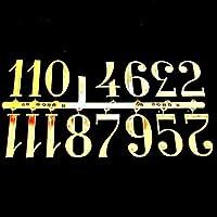 Selbstklebend Schwarz & Gold Kunststoff Uhr Zahlen/römischen Ziffern/Dots Strichen, Gold Numbers 30mm High