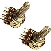 2 x B20K Ohm 20K ohm B203 Dual estéreo lineal moleteado eje estriado giratorio Potenciómetro Pot 2 x 3 terminal eje: 25 mm