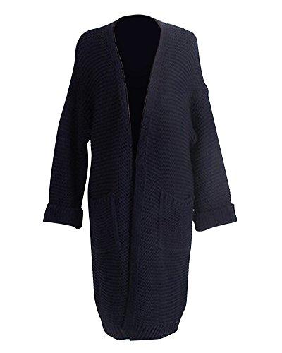 Donna Knit Cardigan Maniche Lunghe Cappotto Coat Con Tasca Oversize Casual Maglione Outwear Marina Militare