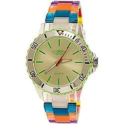 NY London Rainbow Damen Herren Kunststoff Armband Uhr bunte Kunststoff Damenuhr Herrenuhr Armbanduhr Grün Silber Blau inkl Uhrenbox