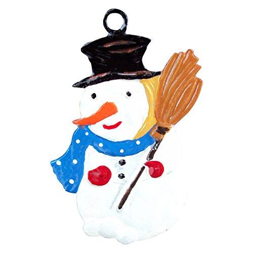Zinngeschenke Schneemann aus Zinn von Hand beidseitig bemalt (HxB) 5,0 x 3,5 cm, als Christbaumschmuck, weihnachtlicher Zierschmuck