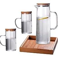 Cold water glass pot teapot pot set glass pot with bamboo cover set
