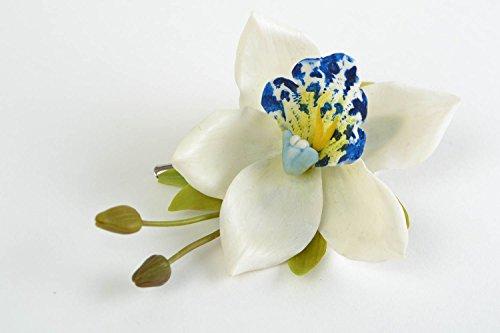 Pinza-para-el-pelo-artesanal-de-porcelana-fria-con-forma-de-orquidea-de-color-blanco