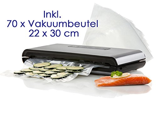 DOMO Vakuumierer, Folienschweissgerät - Luftdicht verschließend inkl. 70 Vakuumbeutel 22 x 30 cm