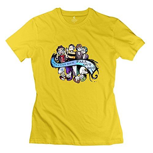 KST  Damen T-Shirt Gr. Large, Gelb - Gelb (Boy Simpsons Out Fall)