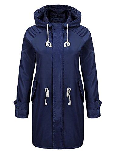 Funktionsjacke Damen Pagacat Winddicht Wasserdicht Outdoor Lange Regenjacke Mit Kapuze und Tasche