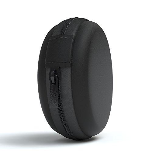EAZY CASE Universal Tasche für In-Ear Kopfhörer mit Netzfach - Hardcase Aufbewahrungsbox, Schutztasche mit umlaufenden Reißverschluss, extra klein, rund, Schwarz - 2