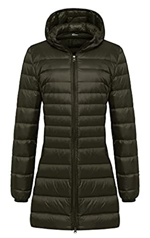 Wantdo Damen Daunenmantel Winter Wärme mit Kapuze Mantel Armeegrün 38-40