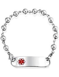Bling Jewelry Pulsera Brazalete de Identificación Médica con Cuentas Metales 6mm Acero Inoxidable 7 Pulgadas