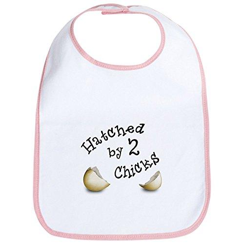 CafePress–Schraffiertes von zwei Küken–Cute Stoff Baby Lätzchen Kleinkinder, Lätzchen, Pink