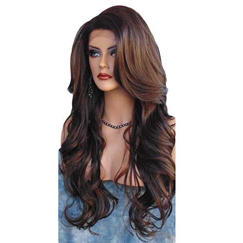 Synthetisches Perückenhaar, Frauen arbeiten langes wellenförmiges lockiges Haar Cospaly Kostüm-volle Perücken-Haar-Erweiterung um (Aussehende Gut Männliche Halloween-kostüme)