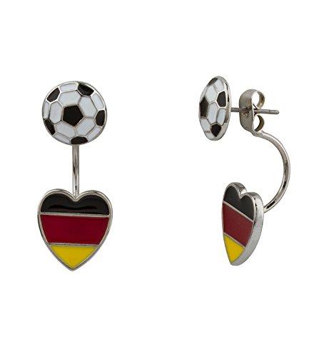 SIX Deutschland WM Ohrringe, Doppel Ohrstecker, mit Fußball und Herz (Deutschland Flagge) Anhänger, Fanartikel (475-447)