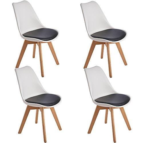 4er Set Esszimmerstühle mit Massivholz Bein, Retro Design Gepolsterter Stuhl Küchenstuhl Holz, Weiß & Schwarz