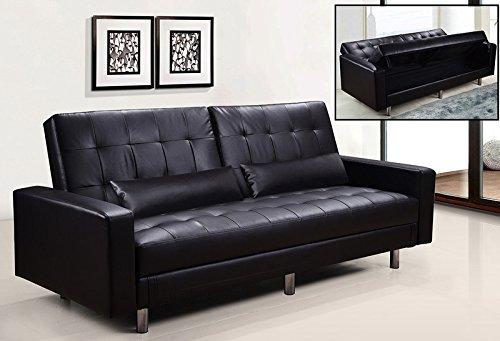 Divano Nero Moderno : Frizzo divano letto contenitore cm ecopelle nero posti