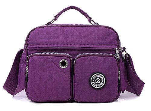 Tiny Chou leggera, impermeabile, con manico in Nylon compatto, borsa a tracolla, con tasche Viola (viola)