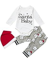 SMILEQ 3pcs Infantil bebé Navidad Pelele Conjunto Recién Nacido Niño Niña  Carta impresión Tops Pantalones de Navidad Gorro de Papá Noel… a230b7ec784