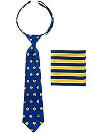 Canacana - Corbata infantil con nudo integrado, diseño de emoticonos con rayas, incluye pañuelo cuadrado