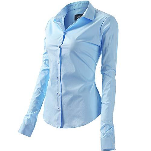 FLY HAWK Bluse Hemdbluse Damen Hemd Basic Kent-Kragen Elegant OL Work Slim Fit Langarm Stretch Formelle Hemden,Hellblau, Größe 50, Hersteller - 22