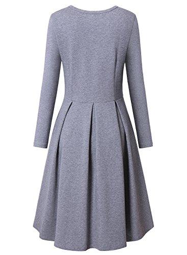 BULOTUS Damen Langarm Rundhals A-Line Casual Kleider Elegant Midikleid Skaterkleid Partykleider Grau