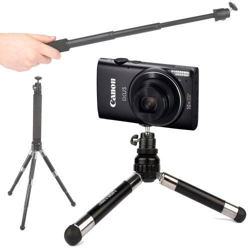 trepied-perche-selfie-duragadget-2-en-1-extensible-pour-ricoh-theta-s-canon-elph-360-hs-powershot-el