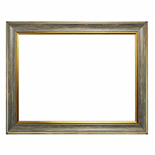 Barockrahmen 10941, 247 GRI Grau mit Goldkannte, als Leerrahmen, 60x80 cm