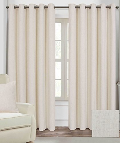Homescapes Natural Cream Luxury Linen Curtains Pair Width 90 x 90 Inch Drop. Modern Ring Top Eye Let Fully Lined Curtains. FREE SWATCHES
